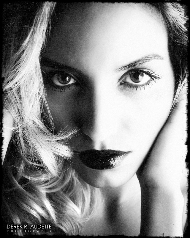 Beautiful woman in black and white