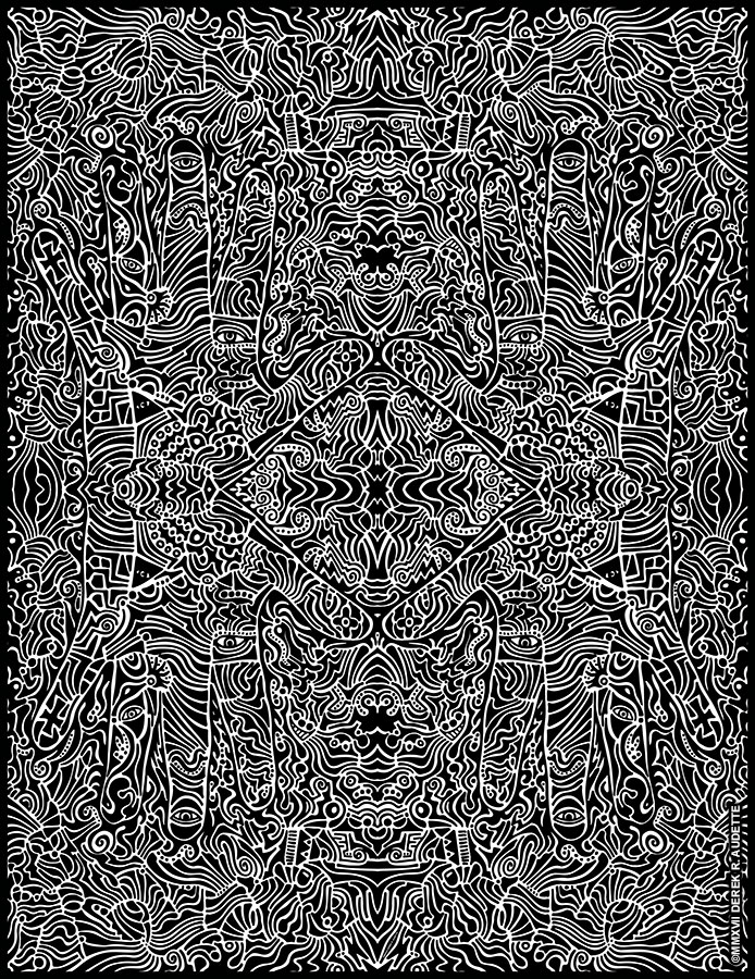"""Sanity In-Sanity"", digital manip of original ink on paper work by Derek R. Audette ©MMXVII (All rights reserved) 37"" X 48"" at full print size."