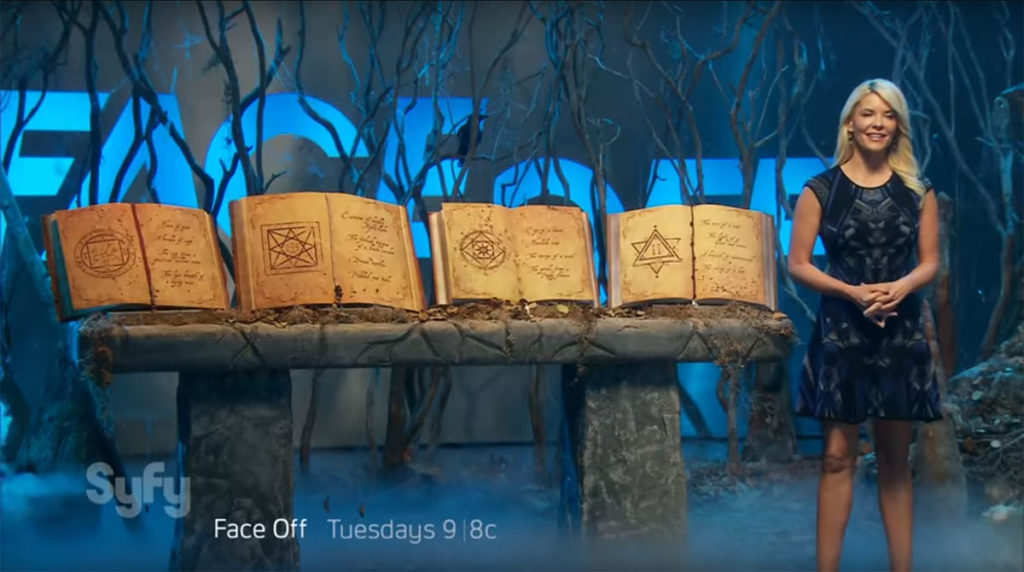 Spell book on Syfy channel's Face Off television show, spell book props. Season 11 episode 10.