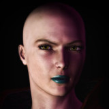 Bald Woman with Blue Lipstick